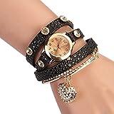 Women's Fashion Rhinstone Faux Leather Wrap Bracelet Quartz Watch with Heart Pendant (Black01)