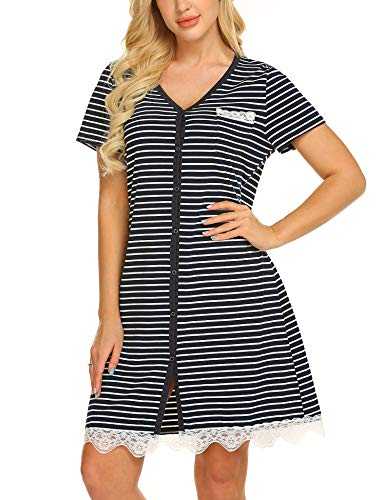 Onniel Nightgown Women Loungerwear Short Sleeves Sleepwear Button Front Nightwear V Neck Striped Shirt Pajamas Dress Blue