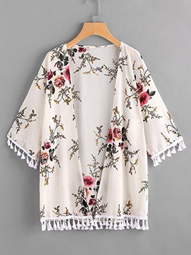 [SHEIN][ Floral Print Random Tassel Hem Kimono フラワープリントランダムタッセル裾の着物](並行輸入品)