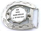 Silver Dollar 39mm Cab Horseshoe 10x8 Cabochon Silverplate Belt Buckle Mounting CF267