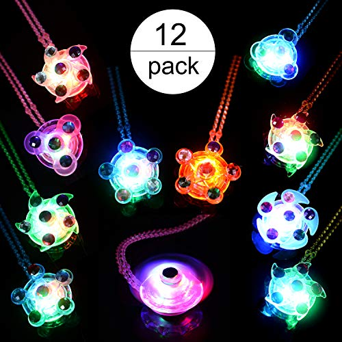 Mikulala LED Party Favors for Kids Prizes 12 Pack Glow in The Dark Party Supplies Light Up Necklaces Bulk Hand Spin Stress Relief Anxiety Toys for Girls Boys Christmas Birthday New Year Eve