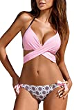 Women's Sexy Criss Cross Bandage Push Up Padded Triangle Bikini Set Swimwear XL Pink