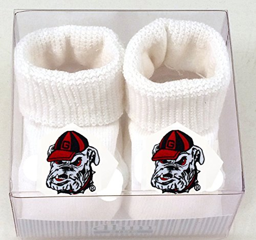 Creative Knitwear Georgia Bulldogs Bulldog White Newborn Booties
