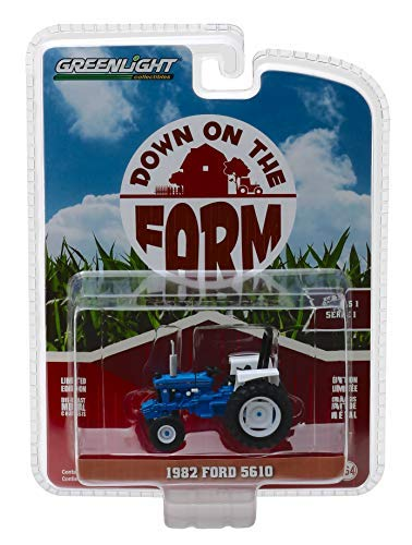 1982 Ford 5610 Tractor Blue and White Down on The Farm Series 1 1/64 Diecast Model by Greenlight 48010 C