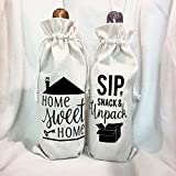 Home Sweet Home Housewarming Gift Canvas Wine Bags, Realtor Gifts, Moving Gifts, New Homeowner Gifts, First time buyer gifts, Client Gifts, Open House Decor
