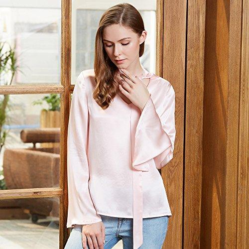 Lilysilk Blusa para Mujer con Cinta Cuello V Camisa de 100% Seda de Mora de 22 Momme Rosa Claro
