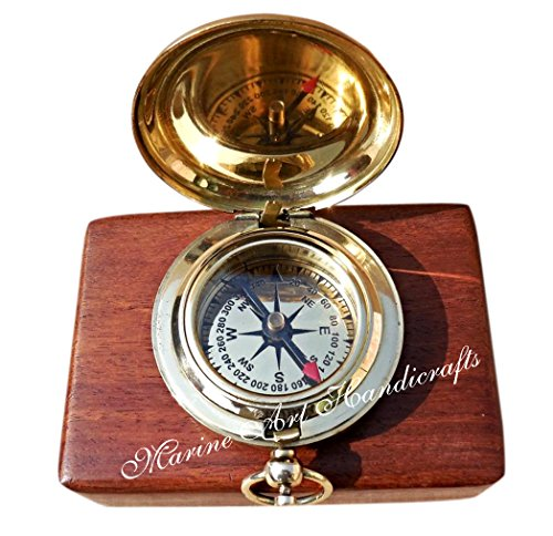 Handmade Brass Push Button Direction Compass POCKET COMPASS. C-3191