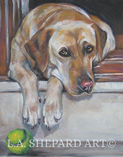 (A Labrador Retriever dog art portrait print of an LA Shepard painting)