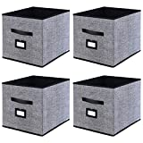 Onlyeasy Foldable Cloth Storage Cubes with Label Holders - Fabric Storage Bins Baskets Organizers for Home Office Nursery with Dual Leather Handles, 13''x15''x13'', 4 Pack Black, MXABXL04PLP