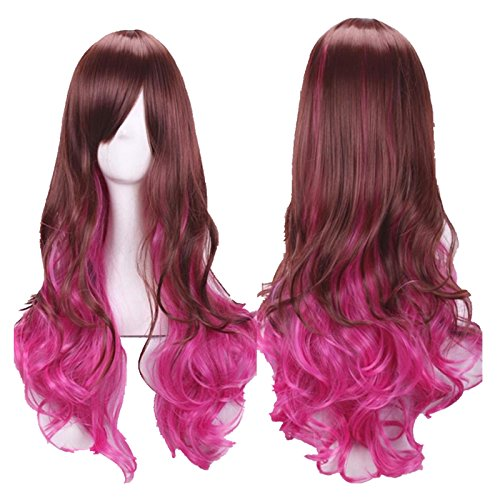 Ecurson Women Lady Long Hair Wig Curly Wavy Cosplay Party Full Wigs (D) (Jane Fonda Wigs)
