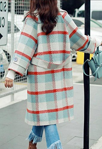 Outwear amp;W M Coats Plaid As Single Women's Wool Picture amp;S Winter Breasted p8a1HU8