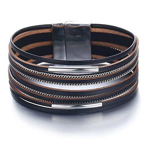 FINETOO Black Wrap Bracelet Multi-Layer Leather Bead Stand Bracelet with Alloy Magnetic Clasp Boho Jewelry for Women (Black Leather Jewelry)