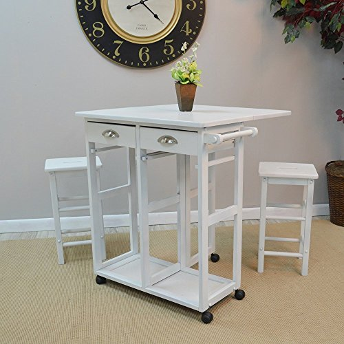 Ellison 3Pc Bar Set 2 Barstools and Table Leaf with 2 Drawers Antique White