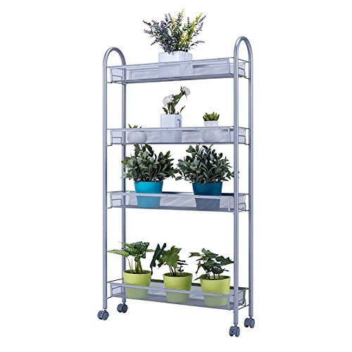 JS HOME 4-Tier Slim Storage Cart Rolling Kitchen Cart, Silvery Grey