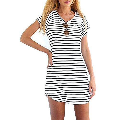 ZHIHONG Women Summer Beach Dress Party Short Sleeve Stripe Blouse Mini Sundress (Medium)