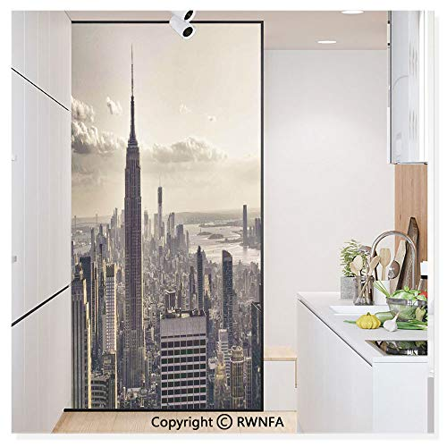 Non-Adhesive Privacy Window Film Door Sticker Aerial View of NYC in Winter Time American Architecture Historical Popular Metropolis Photo Glass Film 23.6 in. by 78.7in. (60cm by 200cm),Beige Grey