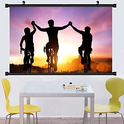 Gzhihine Wall Scroll Postersilhouette bicycle on sunset and friendship in bicycle sport and triathlon sport ,Wall Art Paiting on Canvas 28
