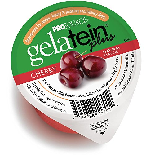 (Gelatein Plus Cherry: 20 Grams of Protein. Ideal for Clear Liquid Diets, swallowing Difficulties, bariatric, Dialysis and Oncology. Great pre or Post-Workout Snack. (14 Pack))