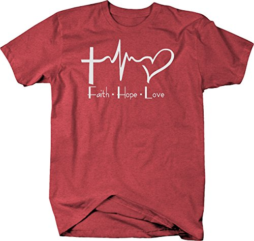 Faith Hope Love Cross Heart EKG Jesus Religious Tshirt - Medium