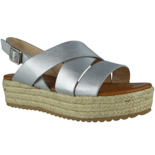 Hessian Size Sandals 8 Shoes Wedge Strappy Ladies Platform Womens Loud Look 3 Slingback Silver Buckle 1WZHnFqn