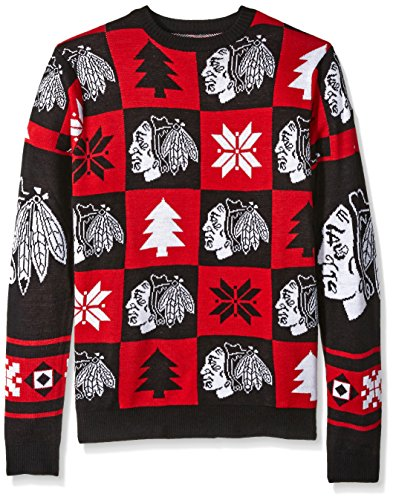 Chicago Blackhawks 2016 Patches Ugly Crew Neck Sweater - Mens Small -