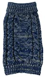 Cheap PET LIFE 'Classic True Blue' Heavy Cable Knitted Ribbed Designer Fashion Pet Dog Sweater, Large, Blue and Light Grey