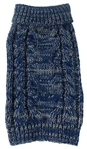 PET LIFE 'Classic True Blue' Heavy Cable Knitted Ribbed Designer Fashion Pet Dog Sweater, Small, Blue and Light Grey