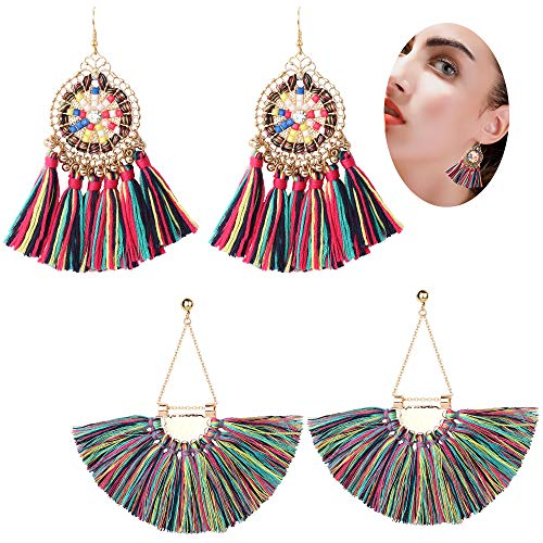 Finrezio 2 Pairs Hoop Tassel Earrings for Women Girls Bohemian Statement Earrings Ethnic Fan-shape Dangle Eardrop Party Dress Accessory (Rainbow) (Shape Fan Earrings)