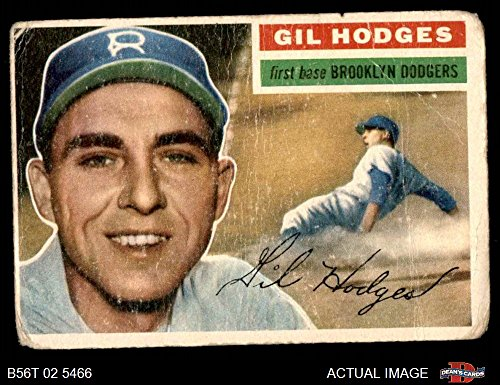 1956 Topps # 145 GRY Gil Hodges Brooklyn Dodgers (Baseball Card) (Grey Back) Dean's Cards 1 - POOR - Baseball 1956 Topps