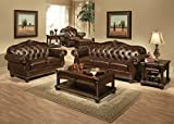 Acme Furniture 15034 Anondale Ottoman, Vintage Dark Brown Top Grain Leather