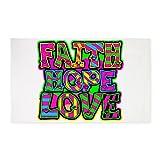 3' x 5' Area Rug Faith Hope Love Neon