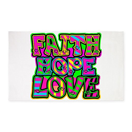 3' x 5' Area Rug Faith Hope Love Neon by Royal Lion