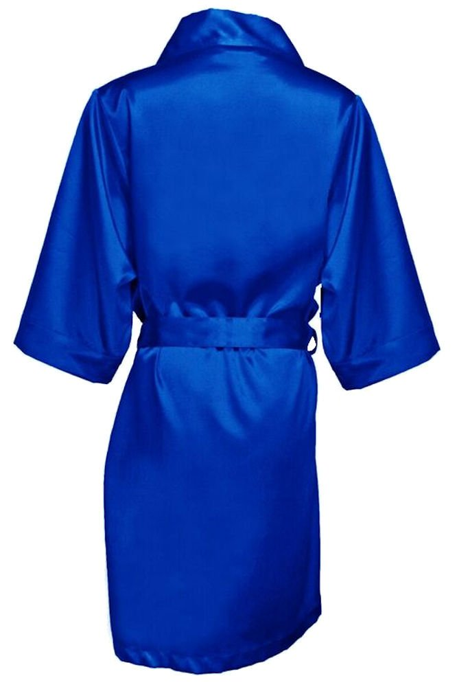 GirlEO Girl's Royal Blue Satin Bridal Party Robes- Girl S