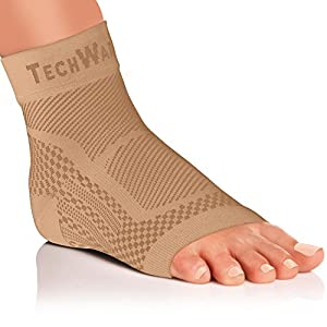 Tech Ware Pro Ankle Brace Compression Sleeve - Relieves Achilles Tendonitis, Joint Pain. Plantar Fasciitis Foot Sock with Arch Support Reduces Swelling & Heel Spur Pain. Injury Recovery for Sports