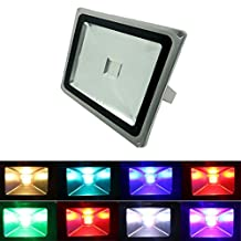 GLW 30W Waterproof Wireless Remote Control RGB LED Flood Light,Outdoor Dimmable Spotlights Garden Lamp, Color Changing Security Floodlights,Landscape Flood lights (without plug)