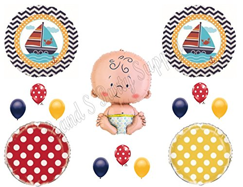 AHOY! It's A Boy Baby Shower Balloons Decoration Supplies Nautical Whale Ocean for $<!--$17.50-->