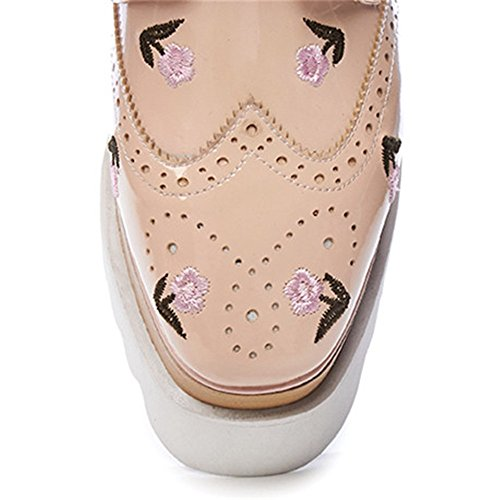 Apricot High Women's Pumps Genuine Lace Up Toe Leather Shoes Handmade Cute Nine Round Seven Platform Heel qAHYHZw