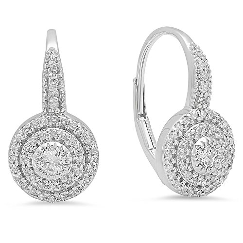 0.55 Carat (ctw) 14K White Gold Round Cut Diamond Ladies Halo Style Dangling Drop Earrings 1/2 by DazzlingRock Collection