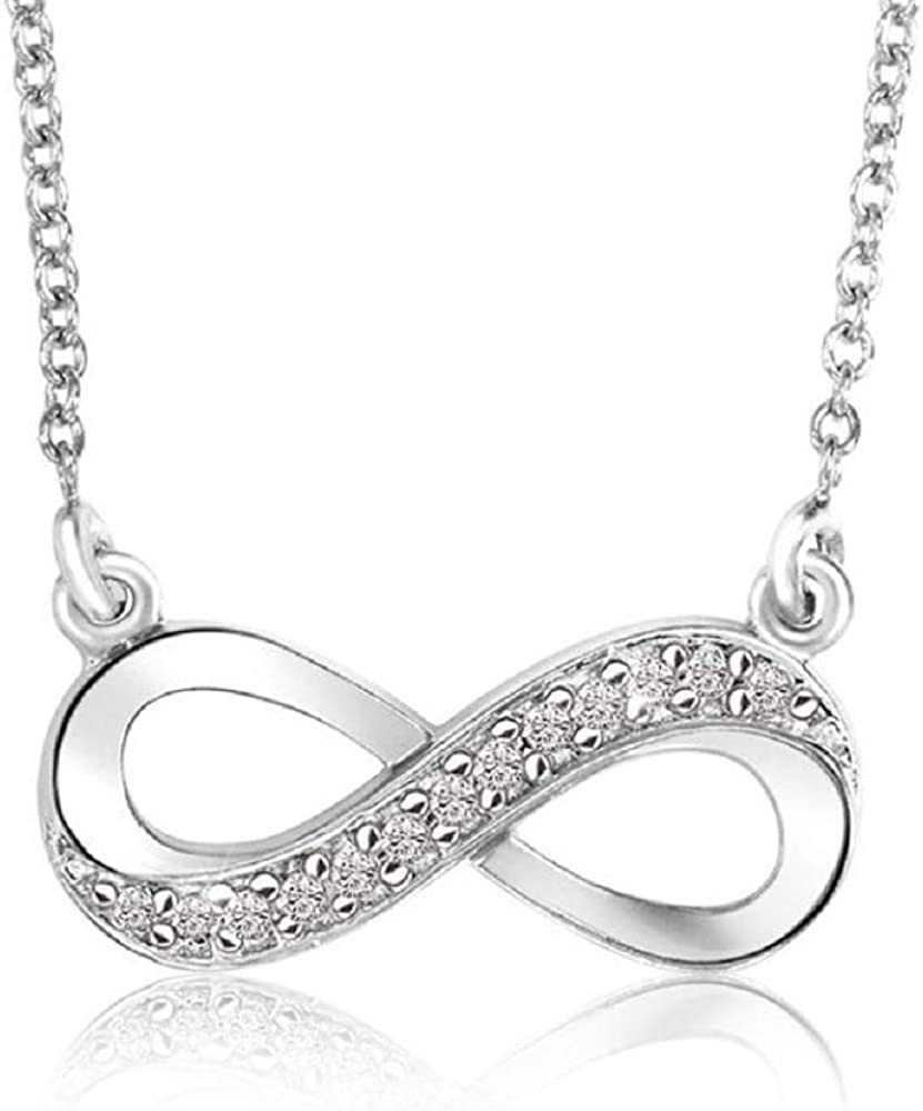 Color GH, Clarity-I 0.10cttw Infinity Diamond Pendant Without Chain in Sterling-Silver