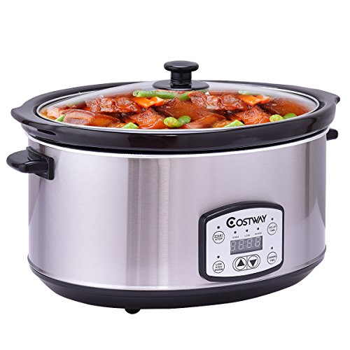 Costway 7 Quart Slow Cooker Programmable Oval Stainless Steel Slow Cooker w/ Digital Timer