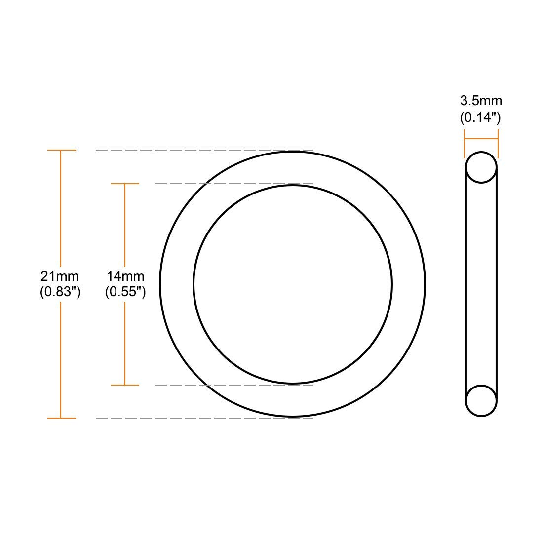 Width of 3.5 mm Inner Diameter of 14 mm Outer Diameter of 21 mm Odor Rings of Fluorine Rubber Green Seal 20 Pieces
