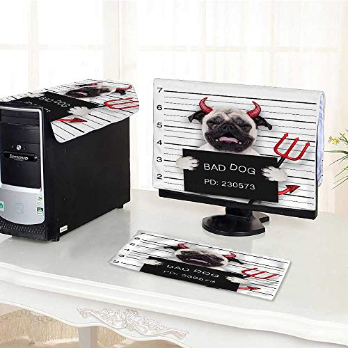 UHOO2018 Computer Cover 3 Pieces Halloween Devil Pug Dog cry in a Mugshot Caught on withcamera Antistatic, Water Resistant /32