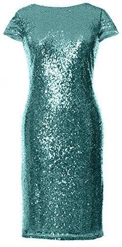 Gown Turquoise Sequin Short Elegant Wedding Cap MACloth Sleeves Dress Bridesmaid Formal zRTRq