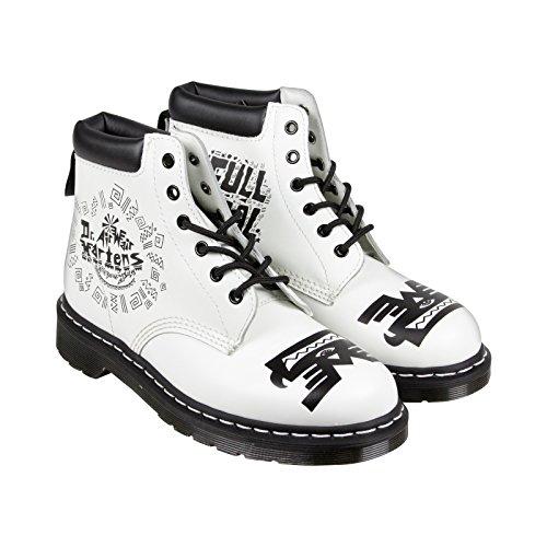 Dr. Martens 939 6 Eye Padded Collar Boot,White/Black Aztec Smooth,UK 8 M