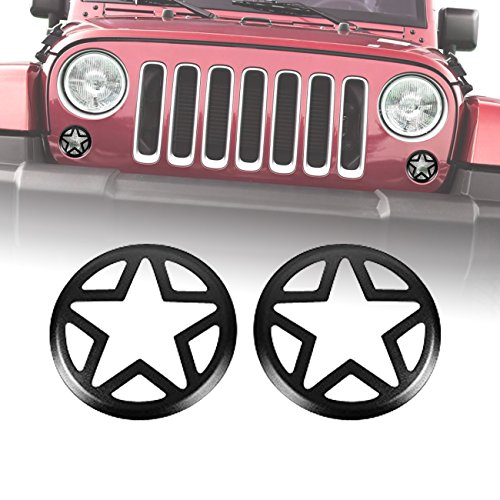 DIYTUNINGS DIYTUNINGS Five Star Front Turn Signal Covers for Jeep Wrangler JK JKU Unlimited Rubicon Sahara X Off Road Sport Exterior Accessories Parts 2007-2017-Pair price tips cheap