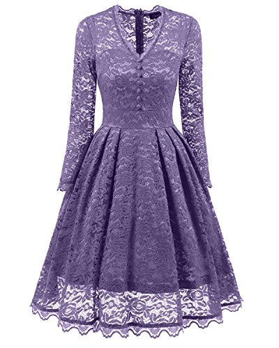 SOVIYAS Womens Long Sleeve V Neck Retro Floral Lace Vintage Swing Bridesmaid Party Cocktail Dress,Purple 3,XX Large (Long Sleeve Bridesmaid)