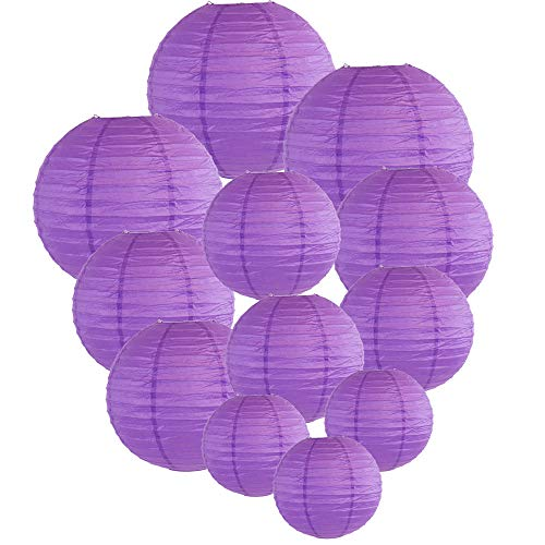 Just Artifacts Decorative Round Chinese Paper Lanterns 12pcs Assorted Sizes (Color: Royal Purple)