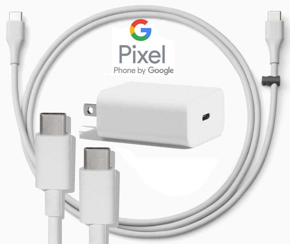 Google USB-C Charging Rapidly Charger for 2nd & 3rd Gen Pixel devices (18W 3A Charger + 3 Foot USB-C, C-C Cable)