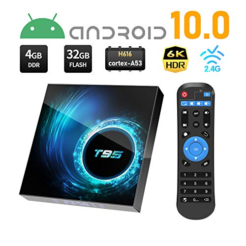Android Box 10.0, Sidiwen T95 Andorid TV Box 10.0 4GB RAM 32GB ROM Quad-core 64-bit ARM Cortex-A53 with WiFi 2.4G Ethernet USB 3.0