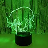 LYXF 3D Optical Illusions LED Lamp Bear 7 Colors Dimmable Night Light with Touch Switch for Kids, Lights Desk Lamp for Room Decor